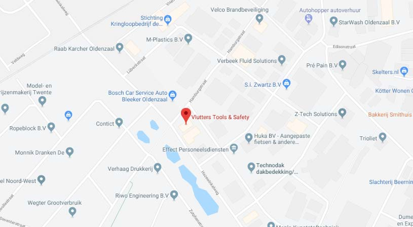 Vlutters Tools & Safety | Adres: Hamburgstraat 15, 7575 EG Oldenzaal | Tel: 0541 573 000